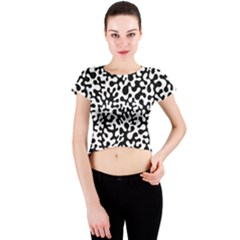 Black and White Blots Crew Neck Crop Top