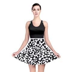 Black and White Blots Reversible Skater Dress