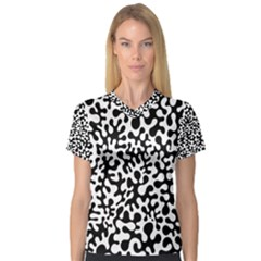 Black and White Blots Women s V-Neck Sport Mesh Tee