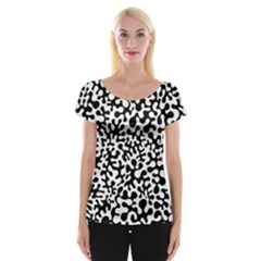 Black And White Blots Women s Cap Sleeve Top
