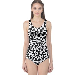 Black and White Blots One Piece Swimsuit
