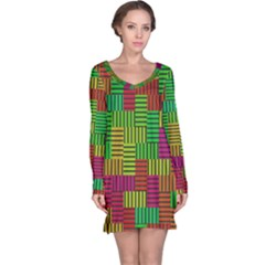 Colorful stripes and squares nightdress