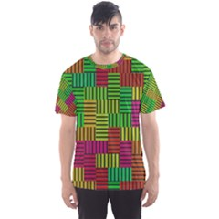 Colorful stripes and squares Men s Sport Mesh Tee
