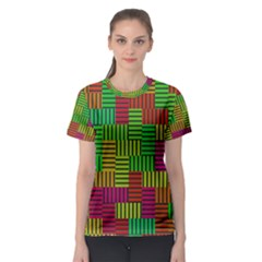 Colorful Stripes And Squares Women s Sport Mesh Tee