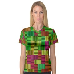 Colorful Stripes And Squares Women s V Neck Sport Mesh Tee