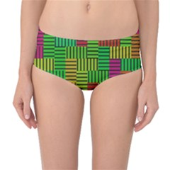 Colorful stripes and squares Mid-Waist Bikini Bottoms