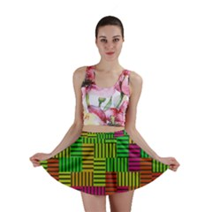 Colorful stripes and squares Mini Skirt