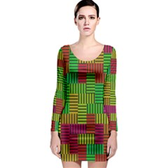 Colorful Stripes And Squares Long Sleeve Bodycon Dress