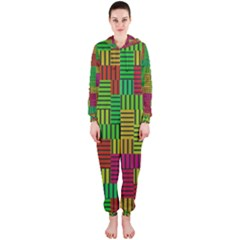 Colorful stripes and squares Hooded OnePiece Jumpsuit