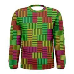 Colorful stripes and squares Men Long Sleeve T-shirt