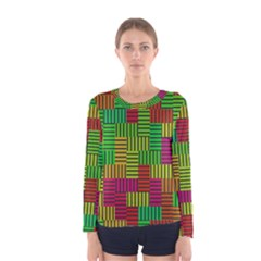 Colorful stripes and squares Women Long Sleeve T-shirt