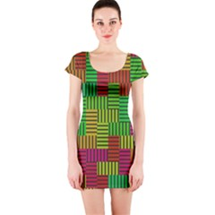 Colorful stripes and squares Short sleeve Bodycon dress