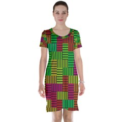 Colorful stripes and squares Short Sleeve Nightdress