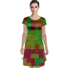 Colorful stripes and squares Cap Sleeve Nightdress