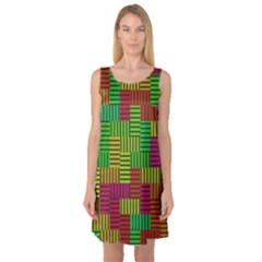 Colorful stripes and squares Sleeveless Satin Nightdress