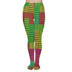 Colorful stripes and squares Tights