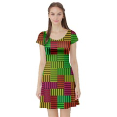 Colorful stripes and squares Short Sleeve Skater Dress