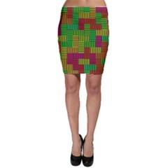 Colorful Stripes And Squares Bodycon Skirt
