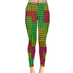 Colorful stripes and squares Leggings