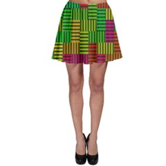 Colorful stripes and squares Skater Skirt