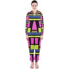 Trapeze And Stripes Hooded Onepiece Jumpsuit