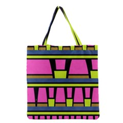 Trapeze and stripes Grocery Tote Bag