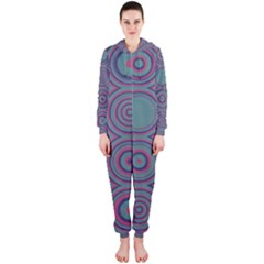 Concentric circles pattern Hooded OnePiece Jumpsuit
