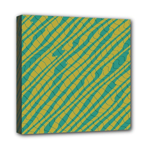 Blue Yellow Waves Mini Canvas 8  X 8  (stretched)