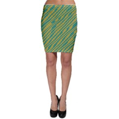 Blue Yellow Waves Bodycon Skirt