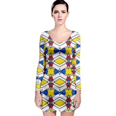Colorful rhombus chains Long Sleeve Bodycon Dress