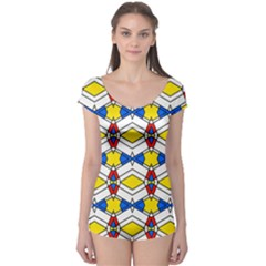 Colorful rhombus chains Short Sleeve Leotard