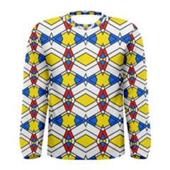 Colorful Rhombus Chains Men Long Sleeve T Shirt