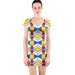 Colorful rhombus chains Short sleeve Bodycon dress