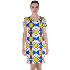 Colorful rhombus chains Short Sleeve Nightdress