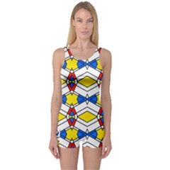 Colorful Rhombus Chains Women s Boyleg One Piece Swimsuit