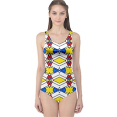 Colorful rhombus chains Women s One Piece Swimsuit