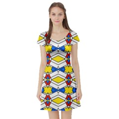 Colorful rhombus chains Short Sleeve Skater Dress