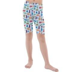 Blue Colorful Cats Silhouettes Pattern Kid s Swimwear