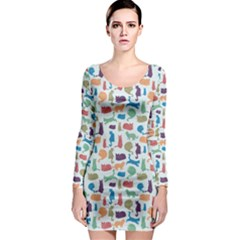 Blue Colorful Cats Silhouettes Pattern Long Sleeve Bodycon Dresses