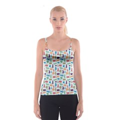 Blue Colorful Cats Silhouettes Pattern Spaghetti Strap Tops
