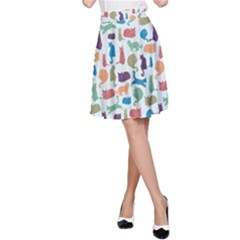 Blue Colorful Cats Silhouettes Pattern A-Line Skirts