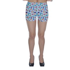 Blue Colorful Cats Silhouettes Pattern Skinny Shorts