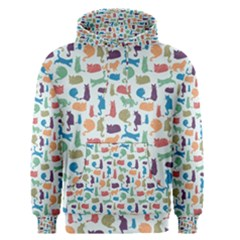 Blue Colorful Cats Silhouettes Pattern Men s Pullover Hoodies