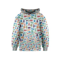 Blue Colorful Cats Silhouettes Pattern Kid s Pullover Hoodies