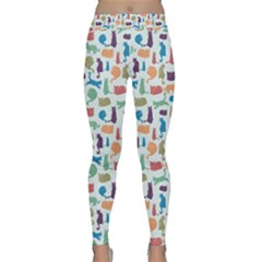 Blue Colorful Cats Silhouettes Pattern Yoga Leggings