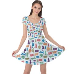 Blue Colorful Cats Silhouettes Pattern Cap Sleeve Dresses