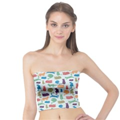 Blue Colorful Cats Silhouettes Pattern Women s Tube Tops