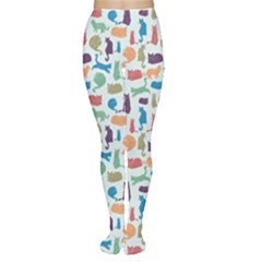 Blue Colorful Cats Silhouettes Pattern Women s Tights