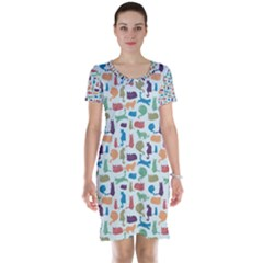 Blue Colorful Cats Silhouettes Pattern Short Sleeve Nightdresses