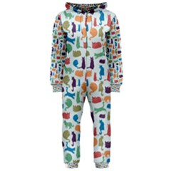 Blue Colorful Cats Silhouettes Pattern Hooded Jumpsuit (Ladies)